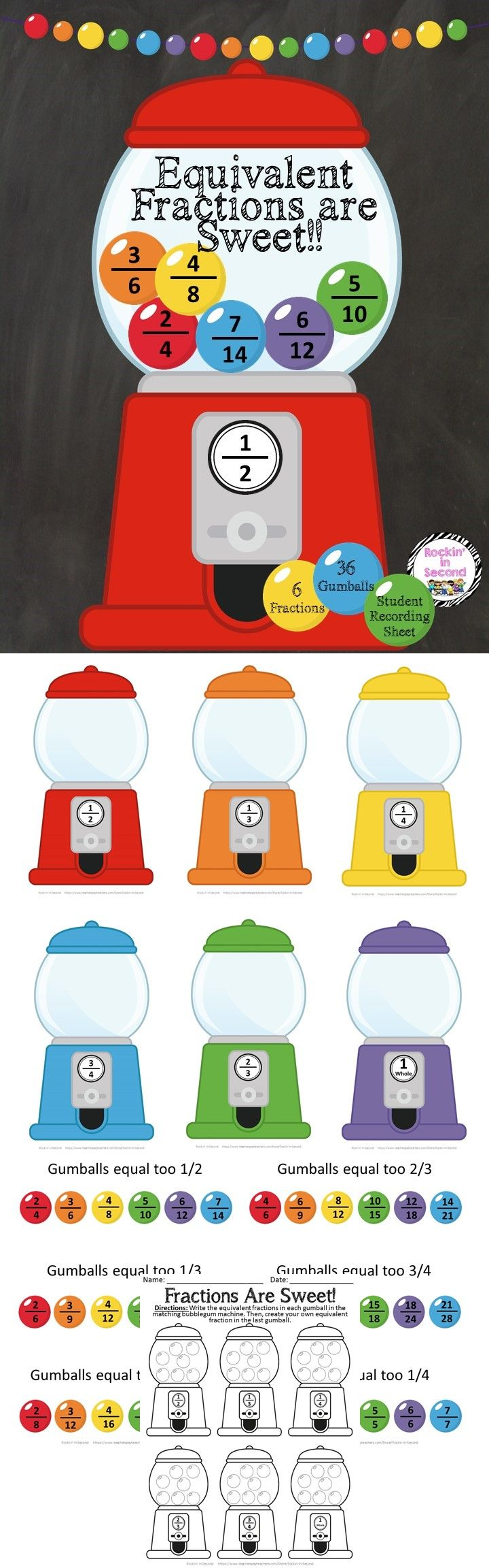 Equivalent Fractions are Sweet!  This fun and creative center will make equivalent fractions fun! This set comes with:  6 Different Fraction Posters 36 Equivalent Gumballs 1 Student recording sheet (Extra gumball in each machine to challenge students to find another equivalent fraction).  Follow me on TPT for more exciting activities and FREEBIES!! All new products are 50% off for the first 24 hours.