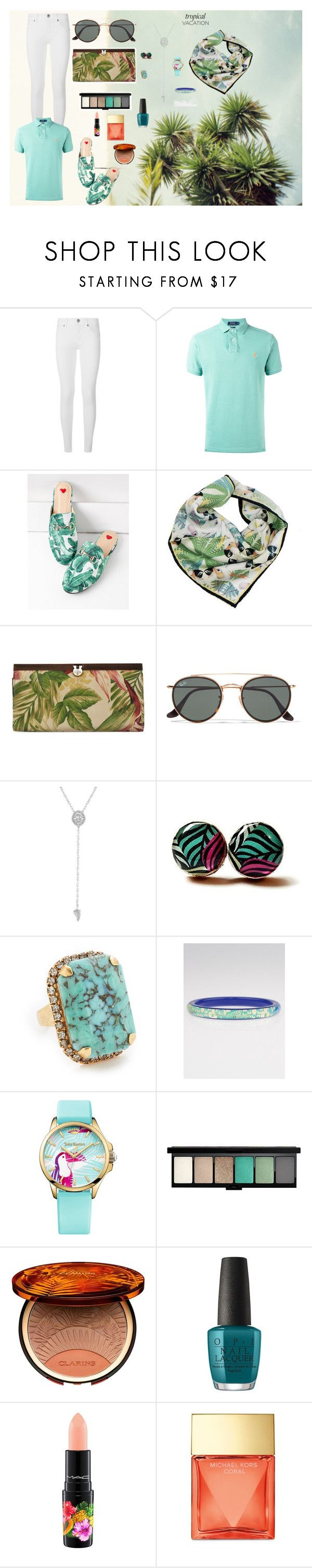 """""""Some tropical things"""" by fernandaalmeida-1 ❤ liked on Polyvore featuring Burberry, Polo Ralph Lauren, Texas and the Artichoke, Patricia Nash, Ray-Ban, Lucky Brand, Elizabeth Cole, Louis Vuitton, Juicy Couture and MAC Cosmetics"""