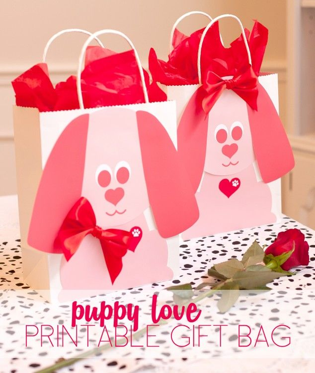 Puppy dog theme valentine's day gift bag tutorial with free printables! #valenti…