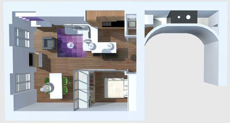chambre aveugle dans salon vue de haut une pi ce en plus pinterest salons. Black Bedroom Furniture Sets. Home Design Ideas