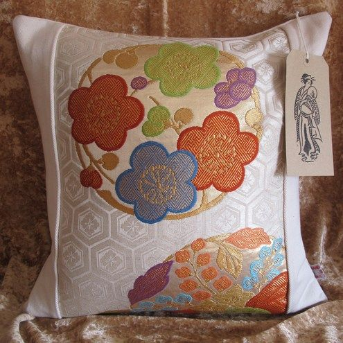 Eco Friendly Japanese Fukuro Kimono Cushion, Complete with luxury Cushion Pad, Free UK P