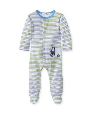 25% OFF Rumble Tumble Baby Stripe Long Sleeve Coverall (Blue)