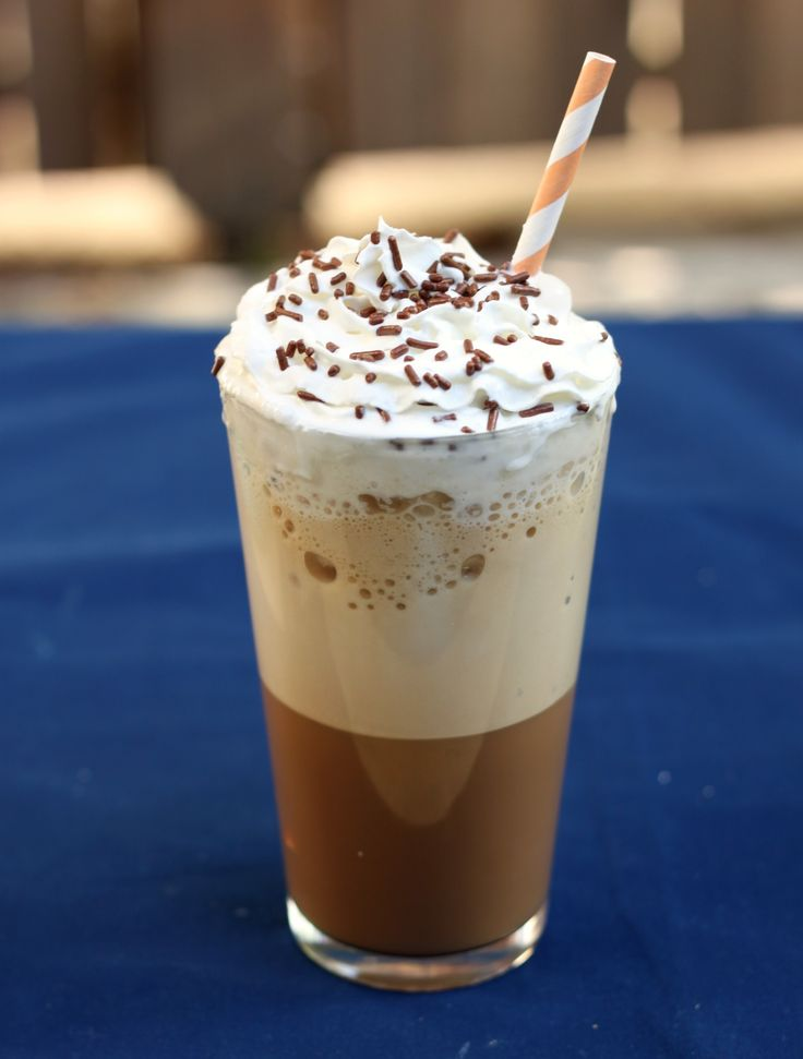 Blended Iced Coffee        1/4 C espresso or strong coffee      1/4 C milk      Your preferred sweetener, to taste      5-6 large ice cubes      Optional for serving: whipped cream, chocolate syrup, caramel syrup, etc.