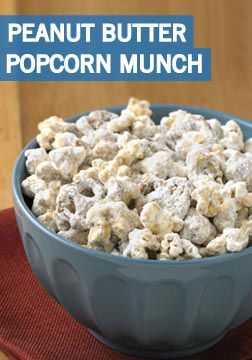 Planning a fall party for your kid's classroom? This Peanut Butter Popcorn Munch recipe from Inspired Gathering is the perfect tasty treat to share! Divide portions into decorative bags for an adorable party favor.