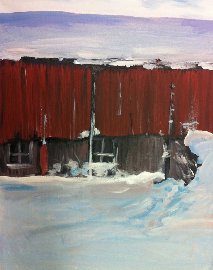 Vinter in Røvika, Norway / Acrylic painting on canvas