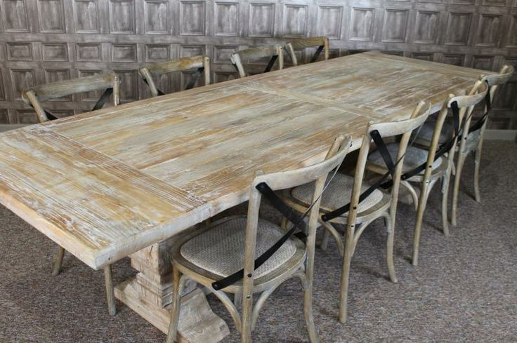 Large M Distressed Limed Elm Dining Table White Washed Kitchen - White wash dining table