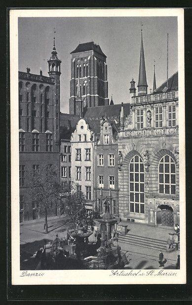 Alte Ansichtskarte: AK Danzig / Gdansk, Artushof & St. Marien