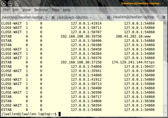 ss : The socket statistics command will give you output of all network sockets on your system. As you can see (in Figure 5) there are a lot of sockets to list on the average computer. This command is similar to netstat but is much faster at reporting.
