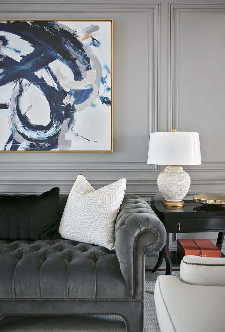 Classic grey tufted sofa | Redo Home + Design