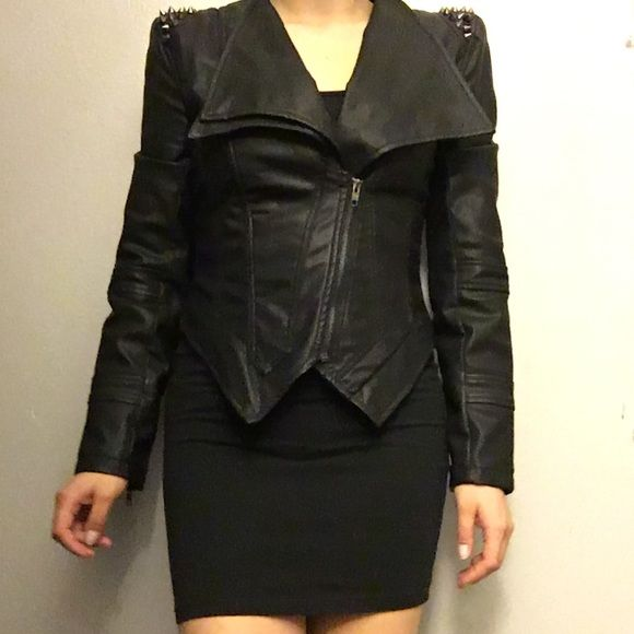 A-LIST HOST PICK* Foreign Exchange faux jacket Foreign Exchange Black faux leather jacket padded shoulder with spikes. Shorter on back. Zippers on sleeves. New. No trades. Foreign Exchange Jackets & Coats