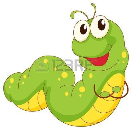 Illustration av en grön larv tecknad photo