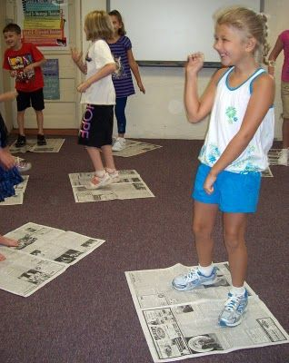 Back to School with Newspaper Dancing- great way to teach kids personal space