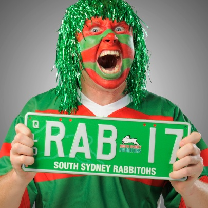 South Sydney Rabbitohs immortalised in a personalised plate. Hop to it! #NRL #SouthSydneyRabbitohs #fans