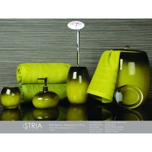 İrya Stria Banyo Aksesuarı Yeşil 5 Parça