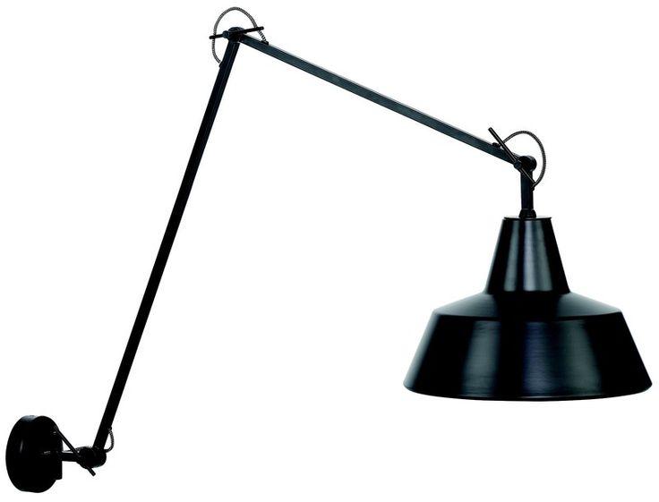 Wandlamp ijzer Chicago h.80cm/l.60-130cm, kap dia.36xh.24cm, mat zwart - Afmeting: 60 x 130 x 80 - Kleur: Mat-Zwart - Materiaal: Ijzer