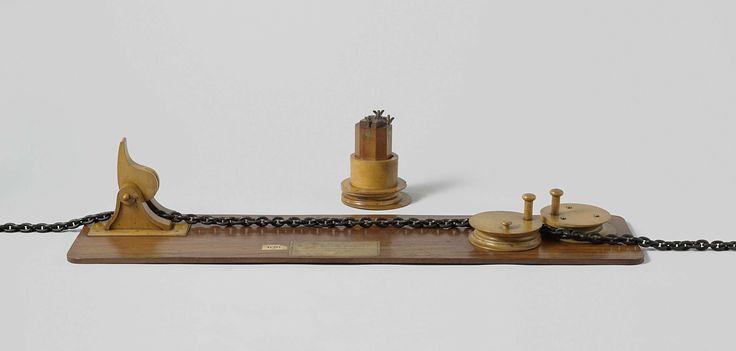Saxby | Model van een kluisstopper en beting, Saxby, Rijkswerf Amsterdam, 1854 | Model van een kluisstopper met ketting, op een grondplank, met een apparte beting. Aan een eind van de grondplank loopt de ketting door een gewone knijper. De stopper bestaat uit een stel schijven aan het andere eind in de vloer gemonteerd, waarvan er een om een excentrische geplaatste as draait; de ketting loopt om de vaste schijf heen, naar voren om de excentrische schijf en weer terug naar achteren. De…