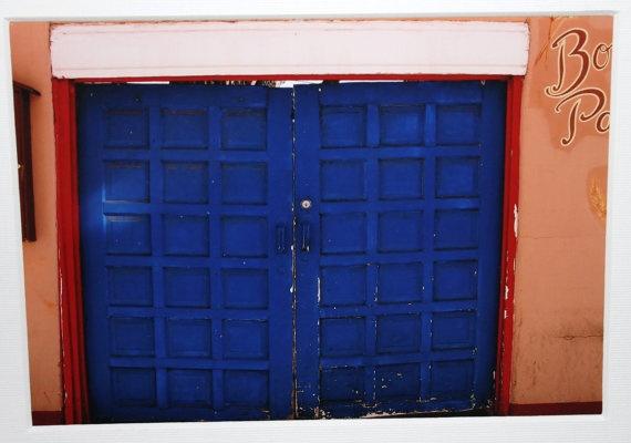 5x7 Blue Doors southwestern New Mexico Santa Fe by RoadAheadPhotos on etsy.