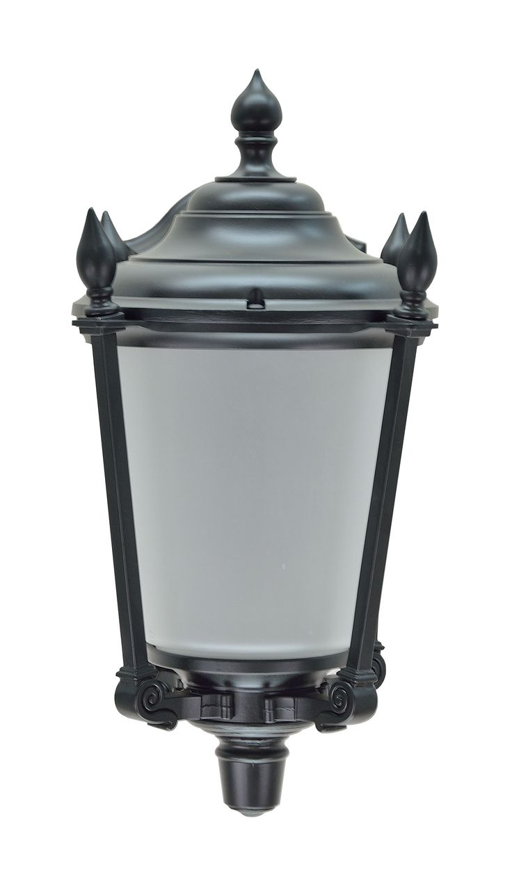 """# 60009 1 Light Large Outdoor Wall Light Fixture, Dusk to Dawn Sensor , a Transitional Design in Black with Frosted Seeded Glass, 19"""" High"""
