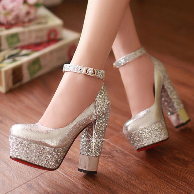 Primavera y otoño zapatos de mujer zapatos de oro blanco de novia zapatos de boda zapatos de dama de honor del vendaje ultra plataforma de tacones altos gruesos