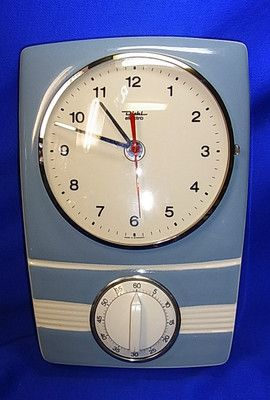 mid century clock with egg timer