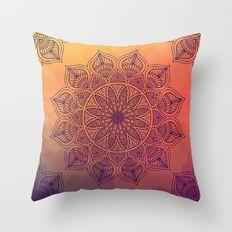 Peach Mandala Throw Pillow