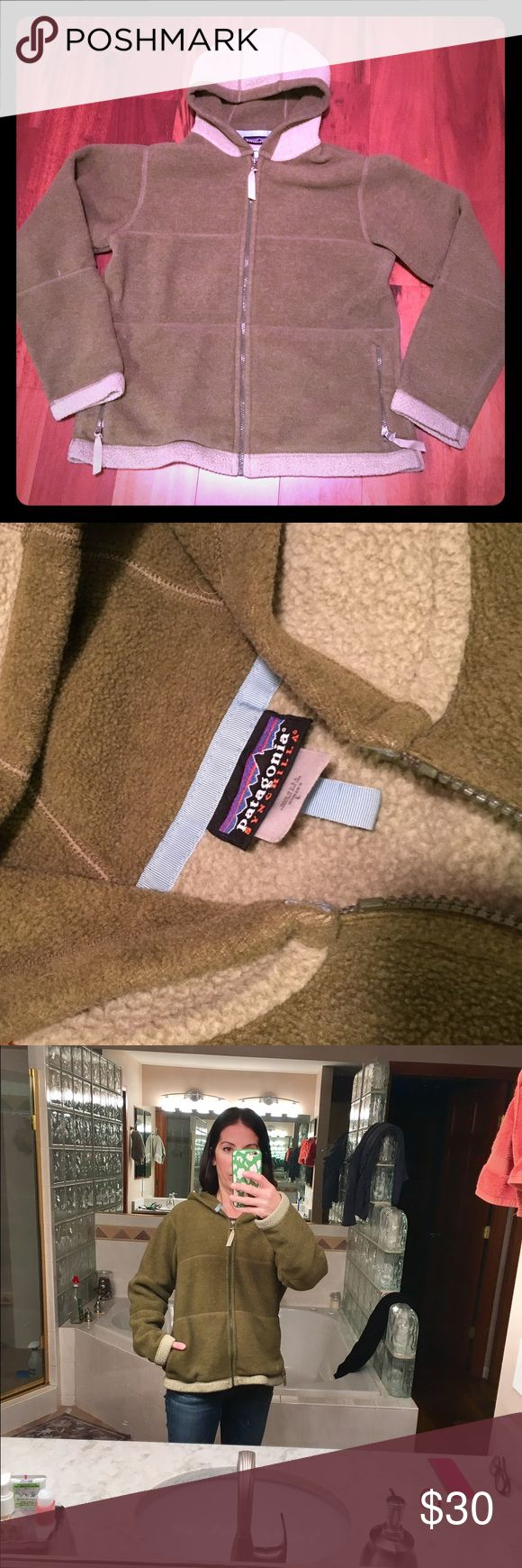 Patagonia fleece Nice two toned green Patagonia fleece jacket with hood. Good condition- minor pilling. Patagonia Jackets & Coats