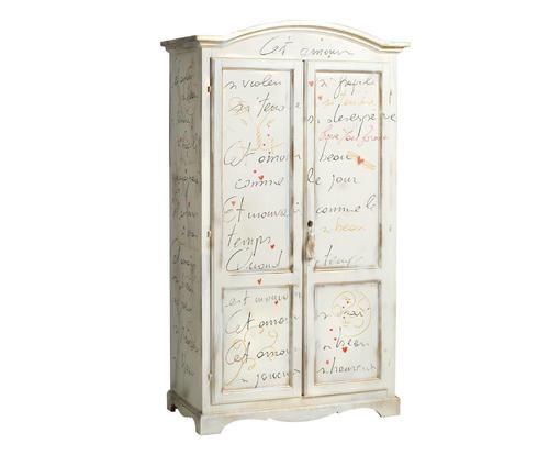 Armadio a 2 ante con poesia scritta a mano bianco Colore bianco oro  ad Euro 779.00 in #Castagnetti #Armoires