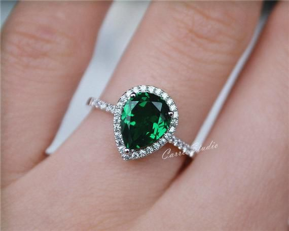 Pear Emerald Ring Emerald Engagement Ring 925 Sterling Silver Ring