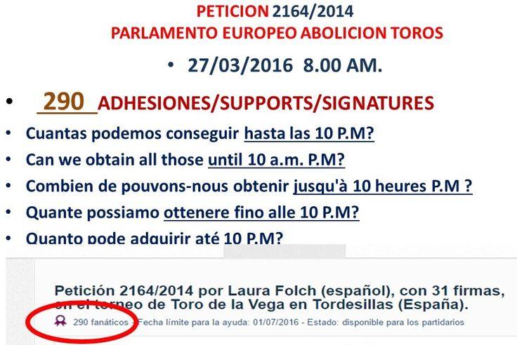 Conseguir apoyo a la peticion 2164/2014 por la abolicion de los Toros admitida a trámite en el Parlamento Europeo
