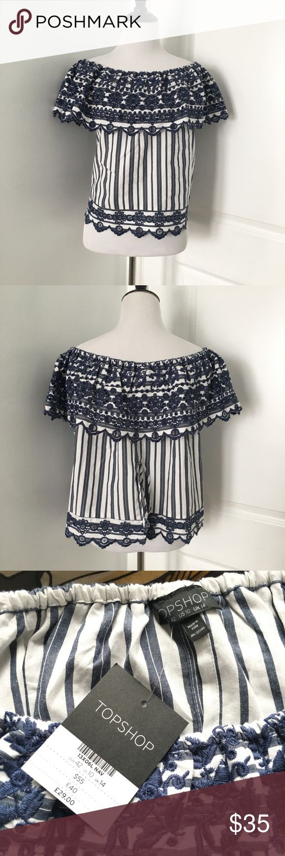 Topshop Bardot Top Blue and white striped off the Shoulder Bardot Top with an embroidered scalloped Hem and embroidery and the Top too. Open Back that ties together with straps  Size 10  Brand new with tags! Topshop Tops Blouses
