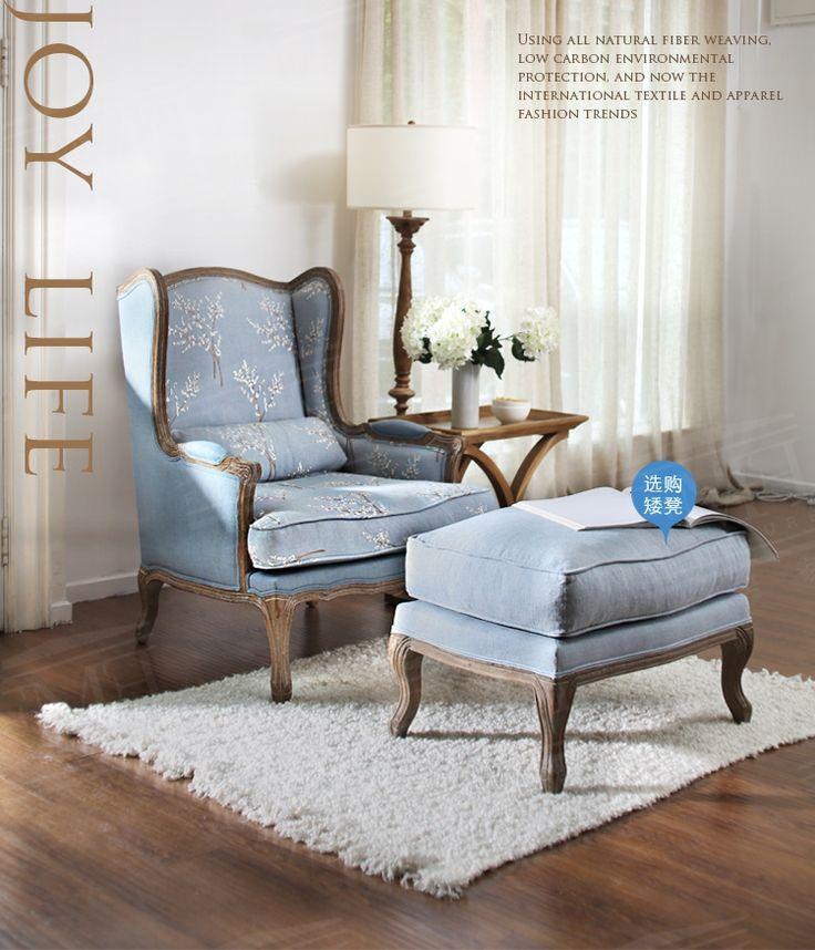 极美家具 美式乡村 欧式复古 实木 提花刺绣 色织棉麻 单人沙发椅-淘宝网