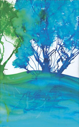 Zart Art Easy Art Craft Activities: great site for ideas. Blow food coloring with a straw, dab with brush for leaves. Plastic wrap pressed down for ground texture. Great background for animal collage.