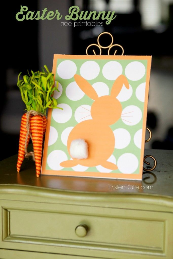 Polka Dot Easter Bunny Free Printables in many colors