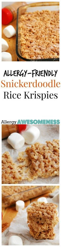 Allergy-friendly Snickerdoodle Rice Krispies (Gluten, dairy, egg, soy, peanut & tree nut free; top 8 free; vegan) |Dairy-free rice krispies| |Gluten-free rice krispies| |Churro rice krispies| |No bake allergy friendly desserts| |allergy friendly desserts|