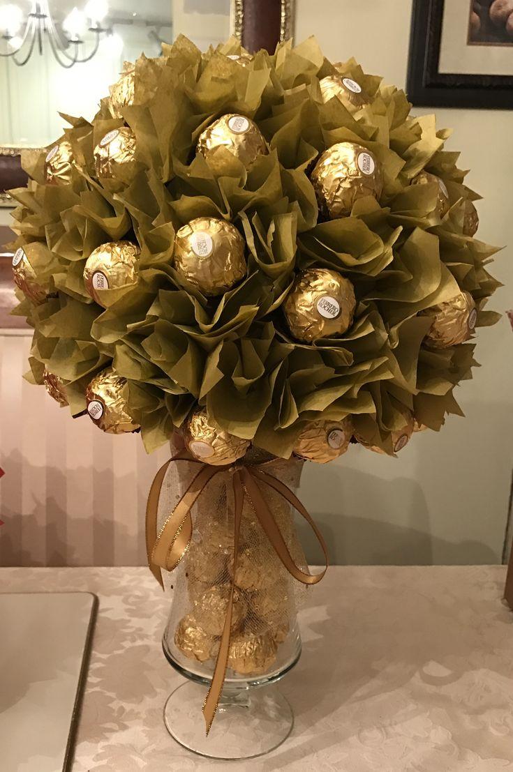 Diy Ferrero Rocher Centerpiece Chocolate Bouquet Diy Candy Centerpieces Gold Christmas