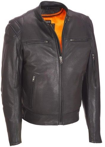 Wilsons Leather Mens Milwaukee Leather Padded Shoulder Leather Performance Cycle Jacket