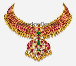 Jewellery Designs: Cabochon Ruby Set by Ganjam
