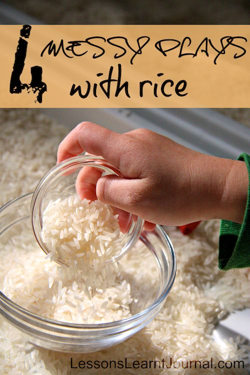 Four ways to play with rice: feels wonderful and promotes tactile discrimination. #lessonslearntjournal #messyplay #rice