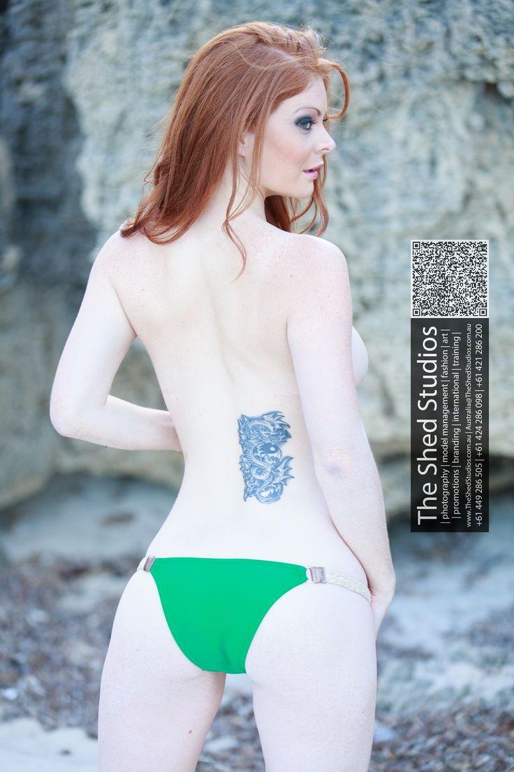 Redhead Ginger Model Bikini Topless Sideboob Butt