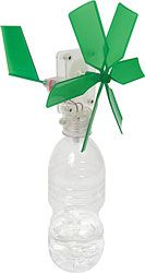 Two lessons in One! The students can learn how wind is a form of energy and create a windmill. Then, add wheels to the bottom of the bottle/windmill to show that wind can give energy to move an object #LearningGREENcontest.