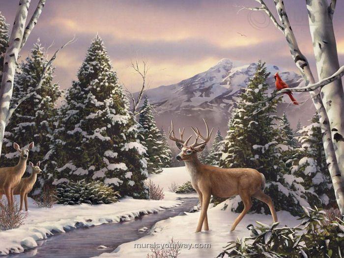 Four Deers in the River Wall Mural - Wallpaper Mural Ideas - 13461