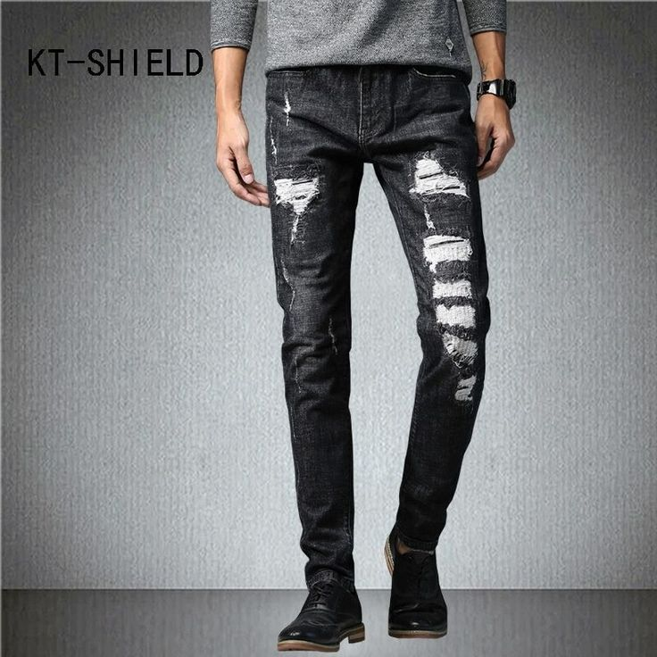 Ripped jeans for men fashion Hip hop casual hombre joggers trousers cotton skinny homme denim pants biker calca jeans masculina