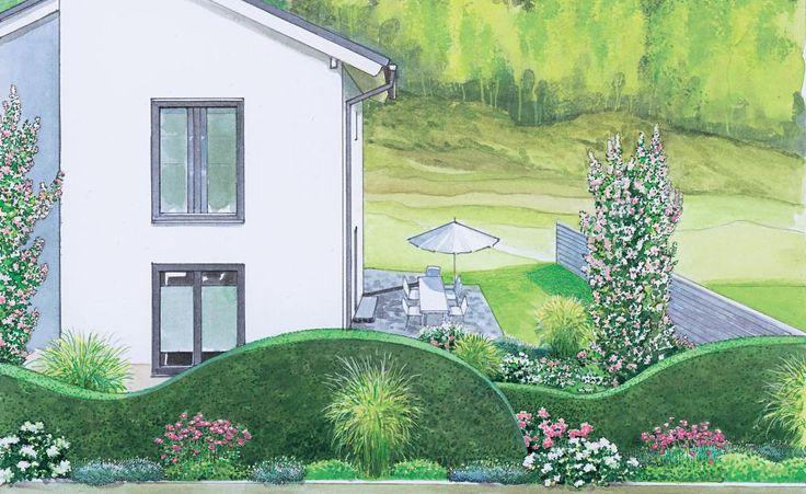 Dieser Vorgarten ist momentan nur mit Terrasse und Lichthöfen ausgestattet und warten auf neue Gestaltungsideen. Wir zeigen Ihnen zwei Vorschläge die beide einenn schönen Sichtschutz für die Terrasse beinhalten. (Pflanzplan als PDF zum Herunterladen und Ausdrucken)