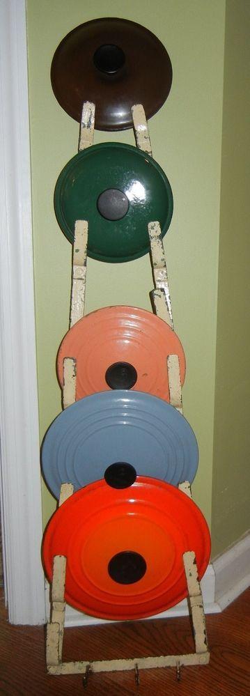 vintage English pot skillet pan lid holder LE CREUSET Cousances Descoware etc. #Unbranded