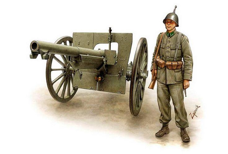 Kanonier, z tyłu armata 75mm wz. 1897 Schneider. Rys. Dmitri Zgonnik