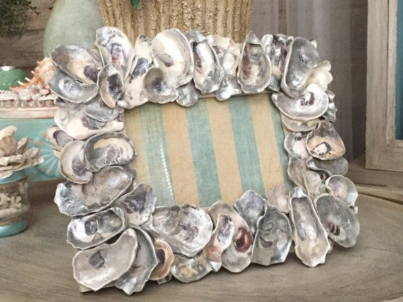 OYSTER PHOTO FRAME, Picture Frame, Hand Collected Oysters, Pearl Wash, 5 x 7""