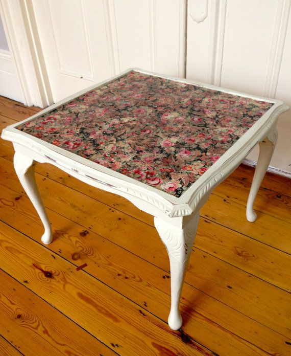 Square Victorian Coffee Table W Black/Pink Rose By Urbanrook