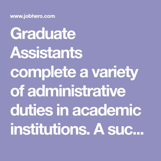 Graduate Assistants complete a variety of administrative duties in academic institutions. A successful example cover letter for Graduate Assistant should mention the following qualifications: Being a degree-seeking student in a graduate program, A good academic record, Excellent oral and written com...