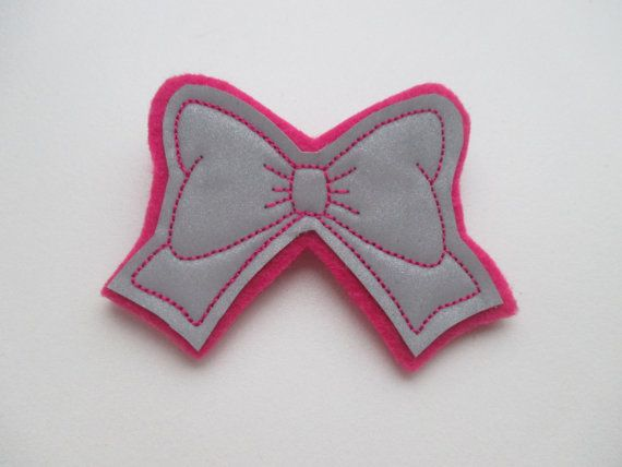 Safety Reflector Hand made Reflector Bow Fuchsia by EvoryCrafts