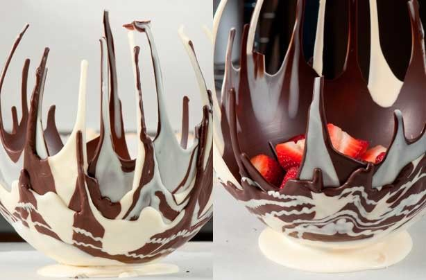 Chocolate Balloon bowl - This would be a great statement piece for a dinner party or a great easter or valentines day treat, fill it with strawberries and cream or lollies or other chocolates
